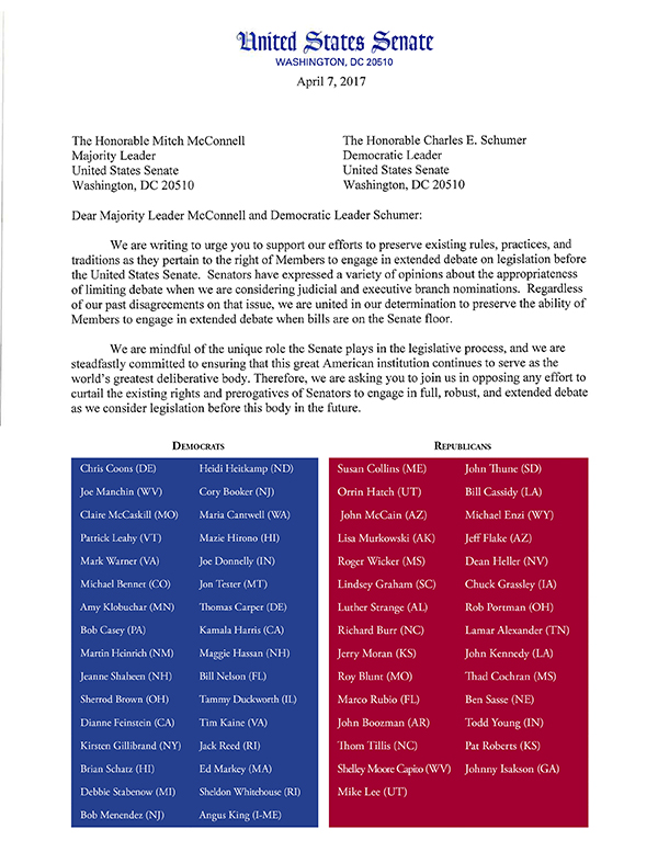 Filibuster Senate Letter and Signers